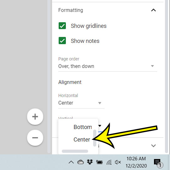 how to print in the middle of the page in Google Sheets