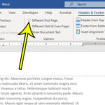 how to start page numbers on second page in Word