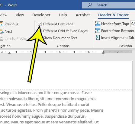 how to skip the first page number in Word