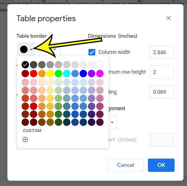 how to change table border color in Google Docs