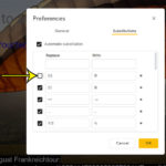 how to turn off a substitution in Google Slides