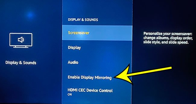 how to enable display mirroring on an Amazon Fire TV Stick
