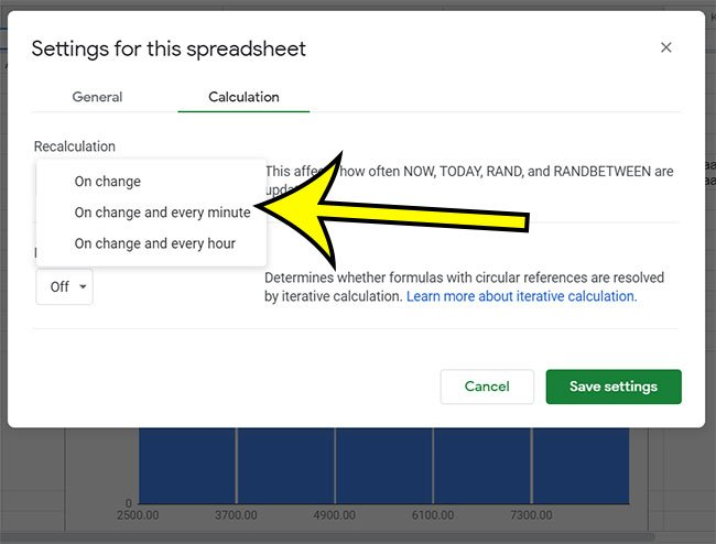how to change the Google Sheets recalculate setting