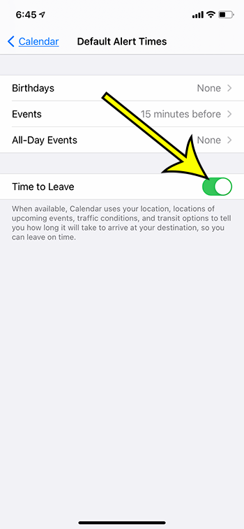 how to enable Time to Leave in the iPhone Calendar app