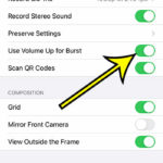 how to use volume up for burst pictures iphone