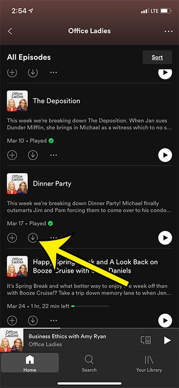 how to download a podcast episode in Spotify on an iPhone