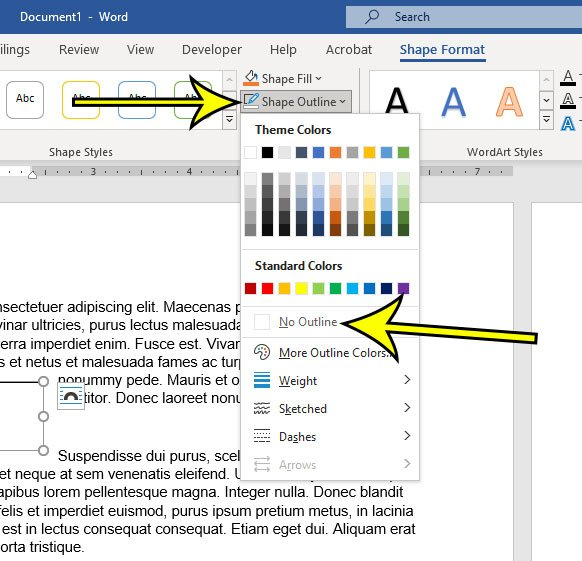 how to remove border from text box in Word